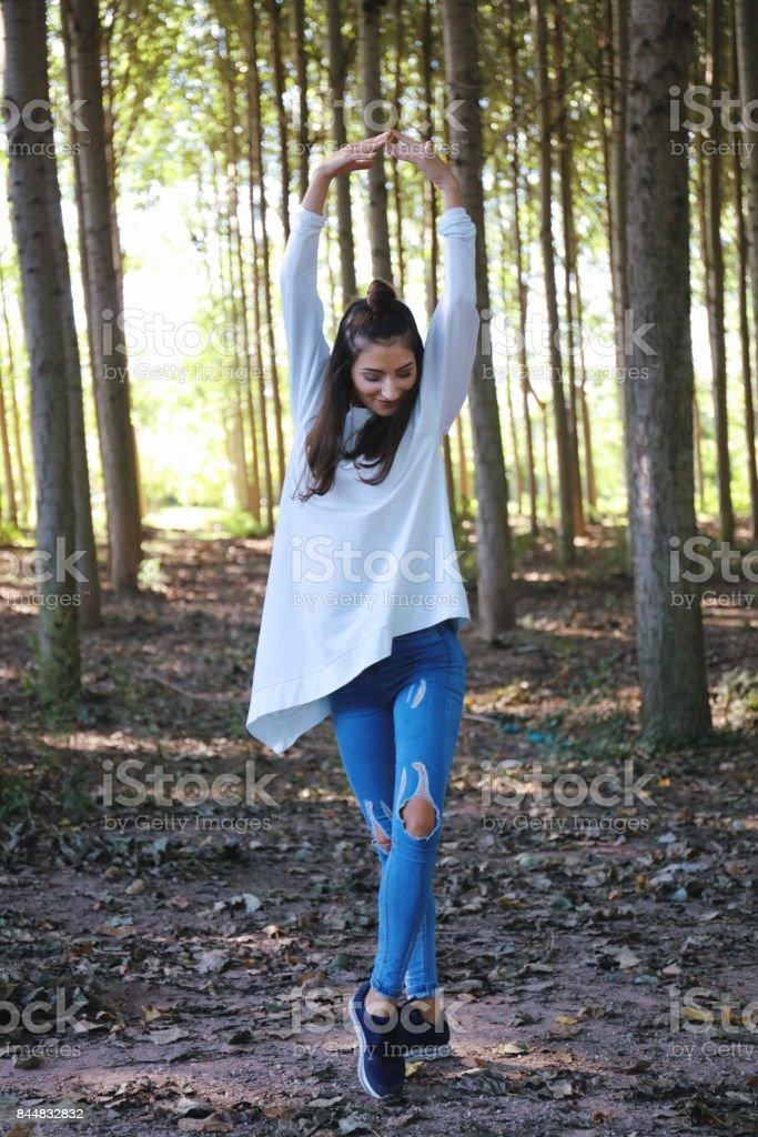 Beautiful woman ballerina dance stock photo