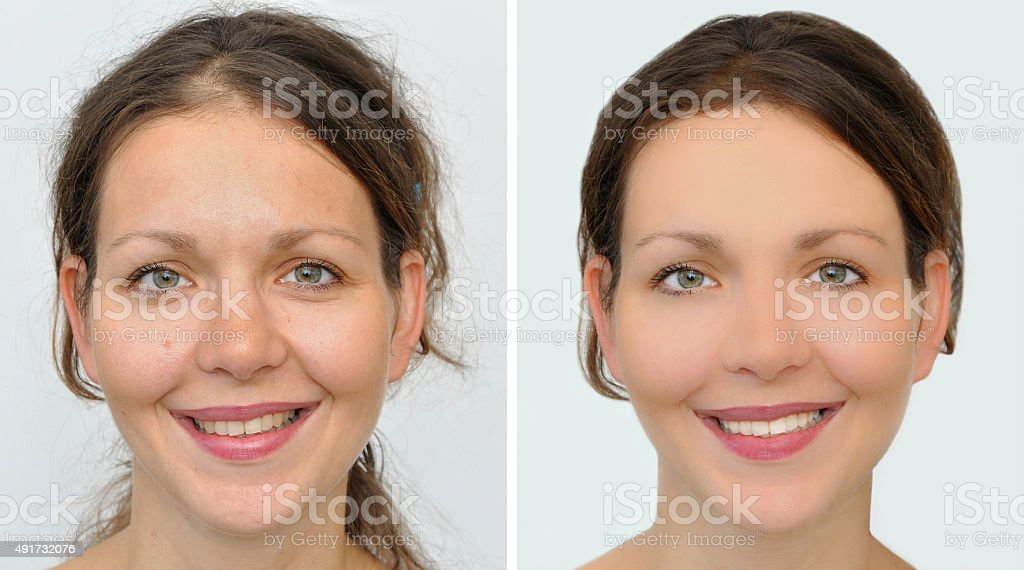 Beautiful woman before and after applying make-up, hairstyling and teeth whitening stock photo