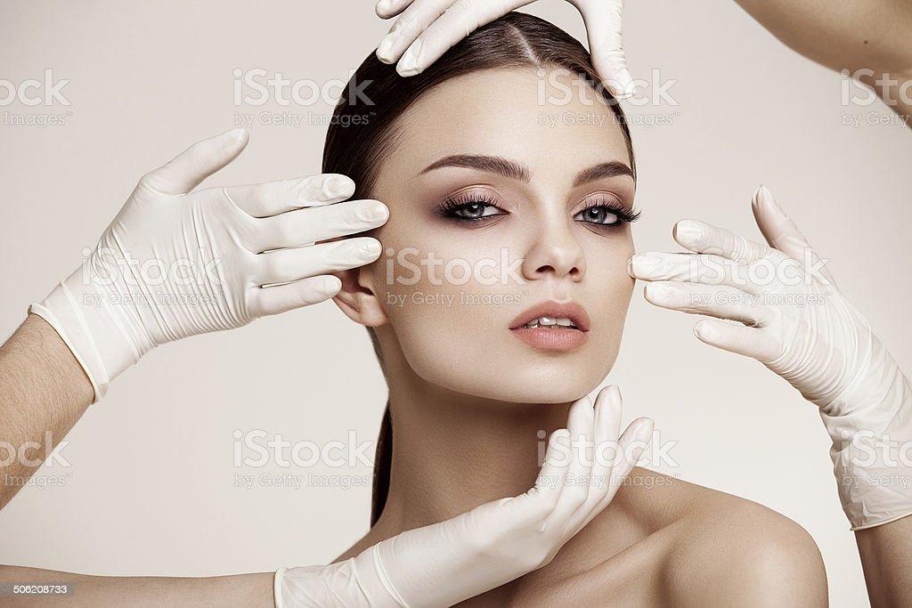 Beautiful  Woman before Plastic Surgery Operation Cosmetology. stock photo