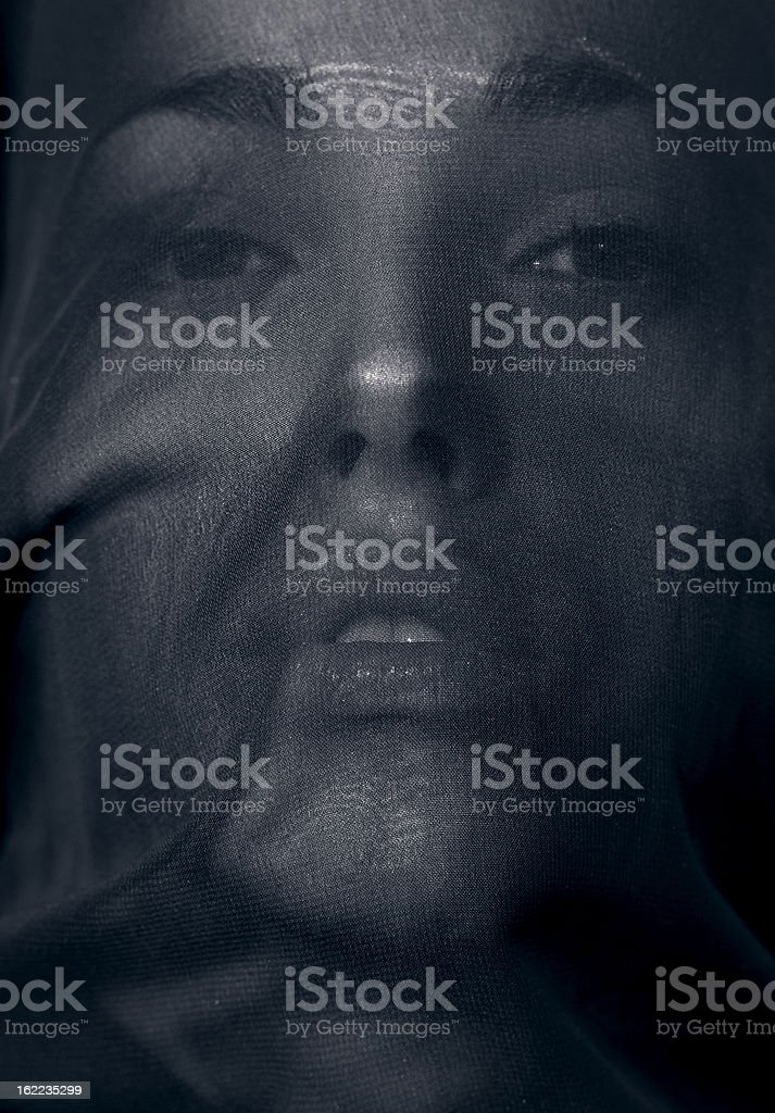 Beautiful woman behind a veil stock photo
