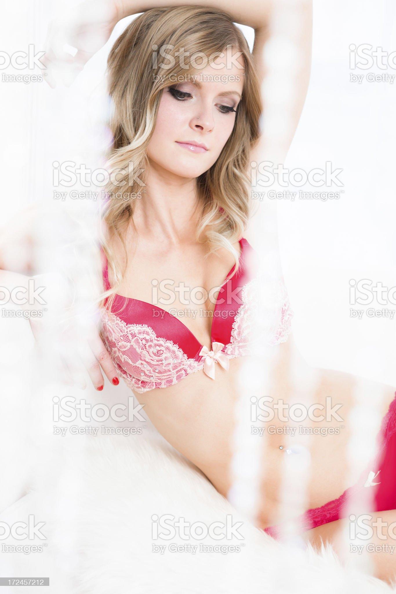 Beautiful woman behind crystal beads royalty-free stock photo