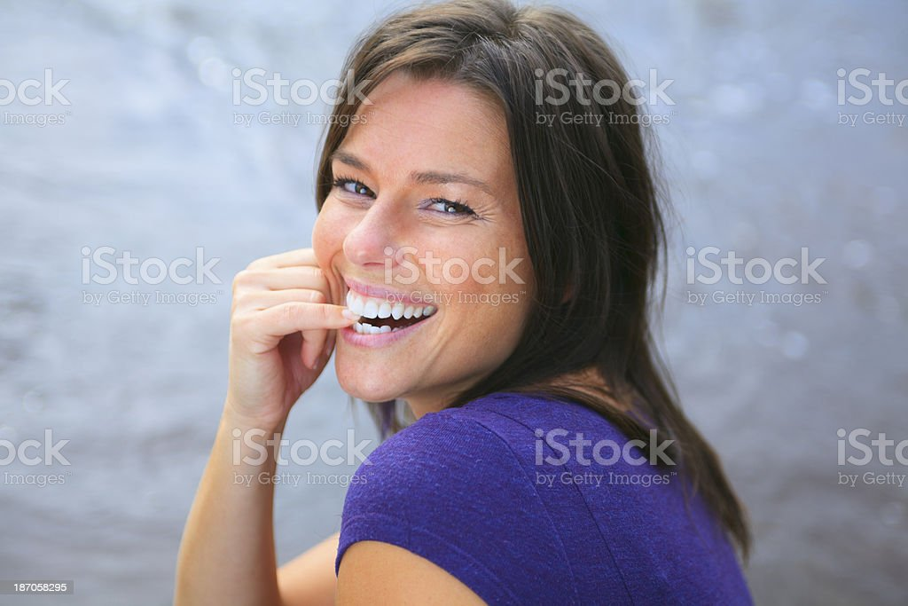 Beautiful Woman Bite Finger royalty-free stock photo