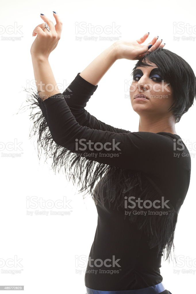 Beautiful woman black dress posing in studio royalty-free stock photo