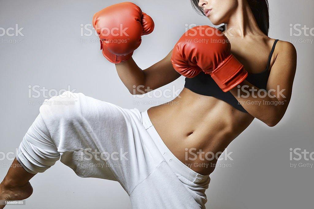 beautiful woman boxing stock photo