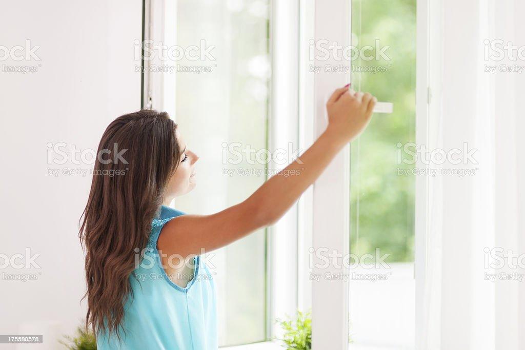 Beautiful woman breathing freshness air stock photo