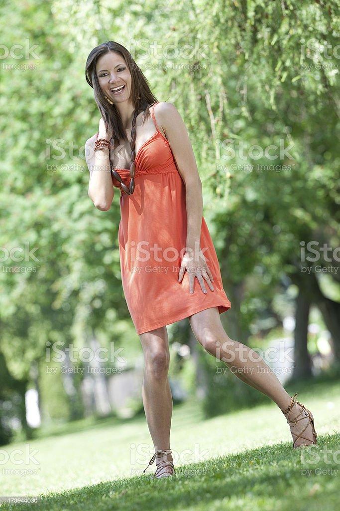 Beautiful woman - candid outdoor shot royalty-free stock photo