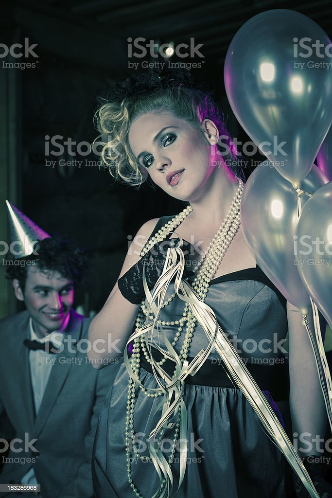 Beautiful woman celebrating New Year's Day royalty-free stock photo