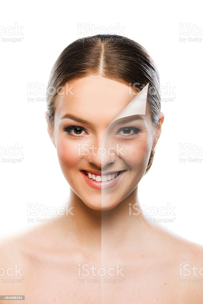 Beautiful woman changing skin beauty concept stock photo