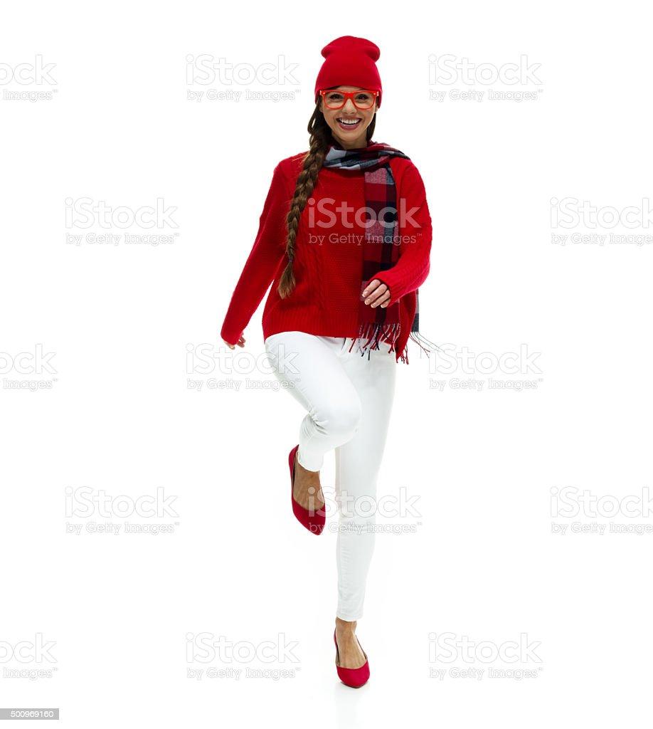 Beautiful woman cheering stock photo