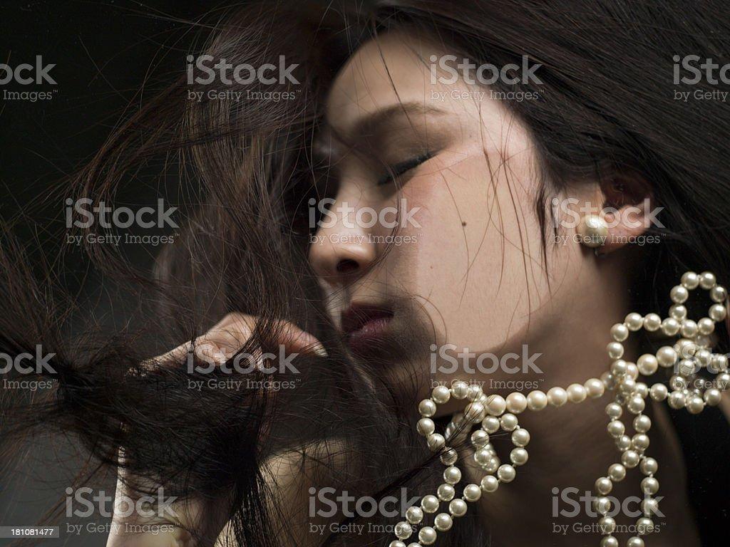 Beautiful woman close eyes royalty-free stock photo