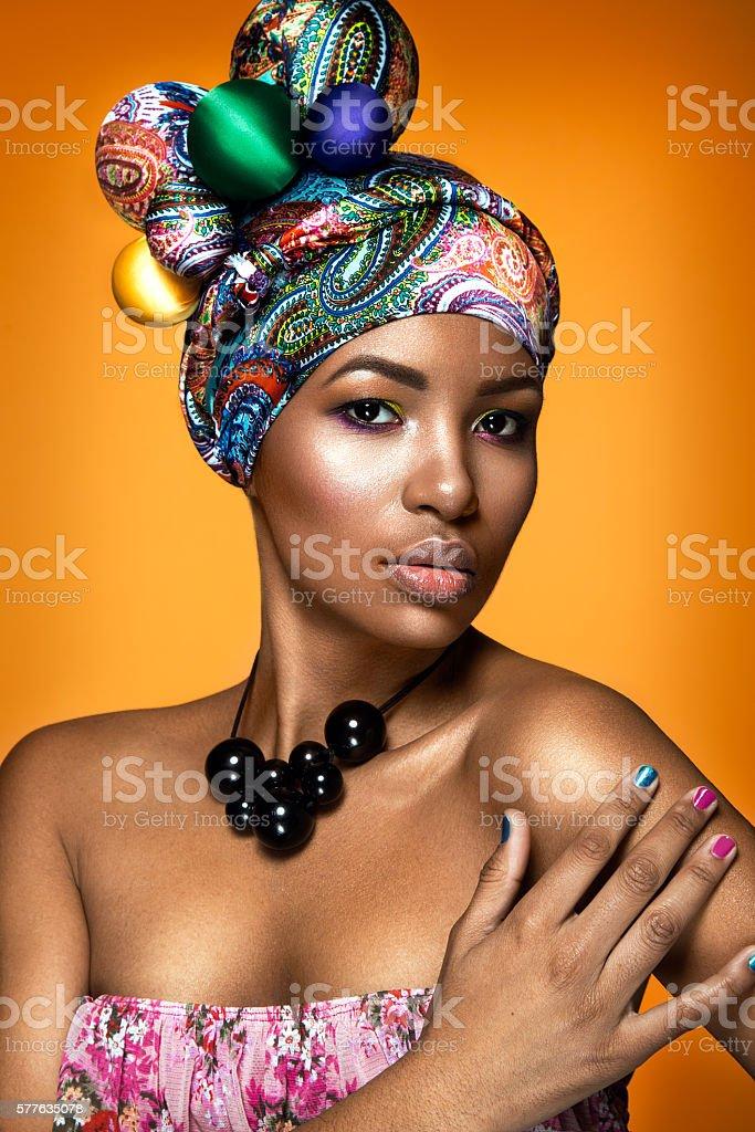 Beautiful woman colorful portrait. stock photo