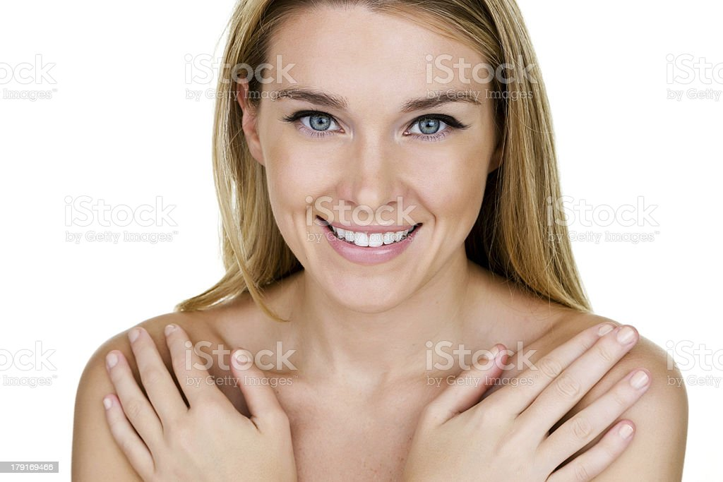 Beautiful woman covering her body royalty-free stock photo