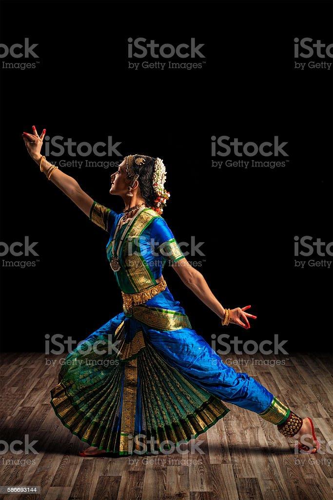 Beautiful woman dancer of Indian classical dance Bharatanatyam stock photo