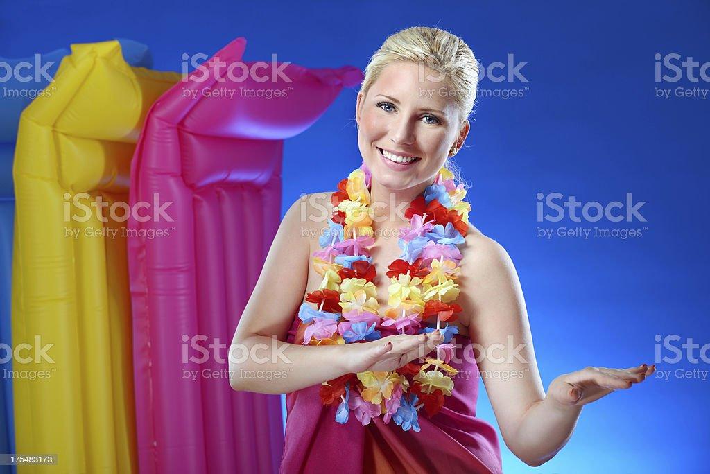 Beautiful woman dancing hula royalty-free stock photo