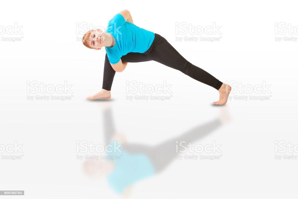 beautiful woman doing yoga on white background stock photo