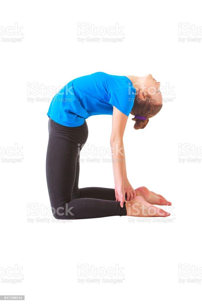 beautiful woman doing yoguna white background stock photo