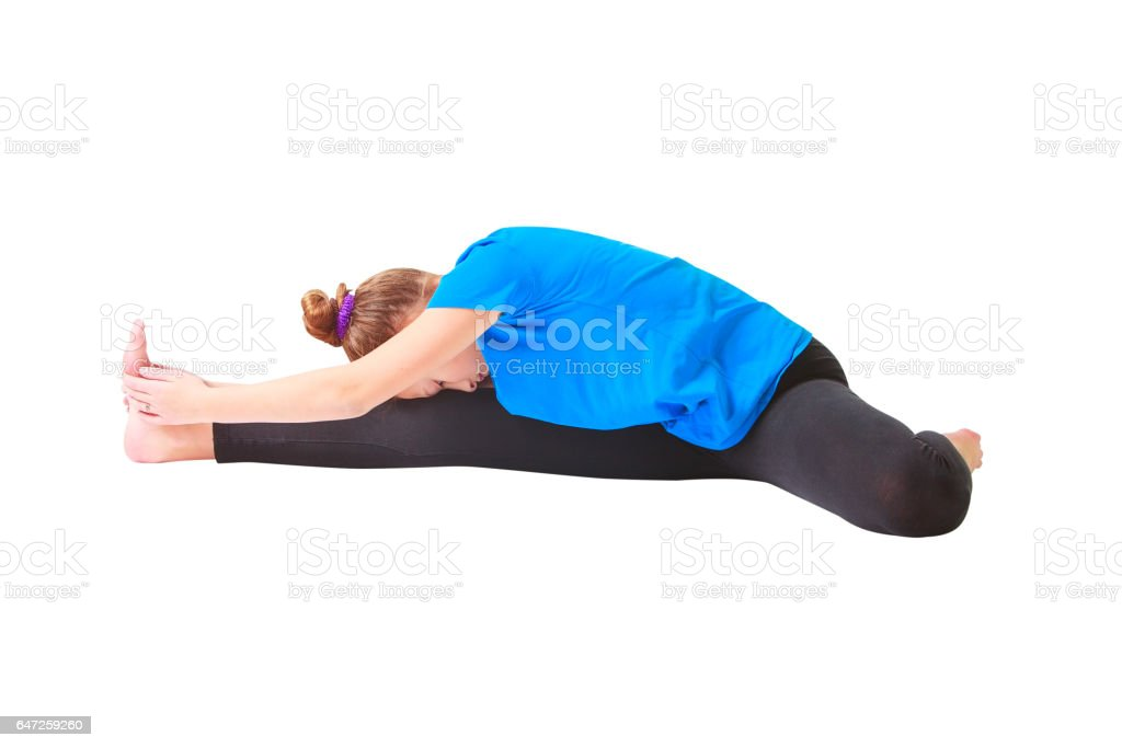 beautiful woman doing yoguna white background stock photo