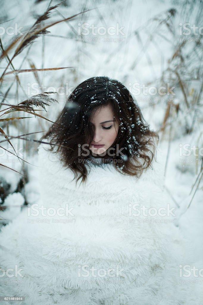 Beautiful woman dreaming in winter meadow stock photo