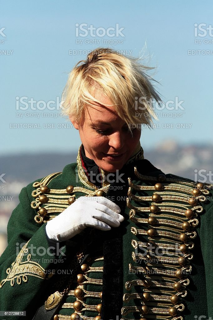 beautiful woman dressed as a hussar stock photo