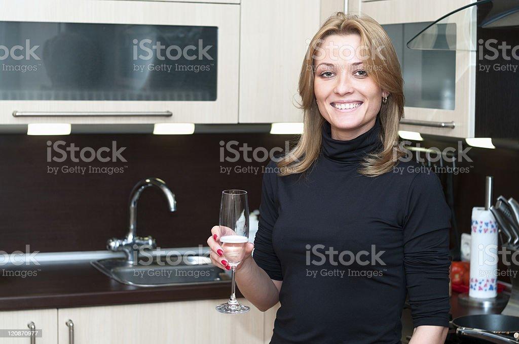 Beautiful woman drinking champagne stock photo