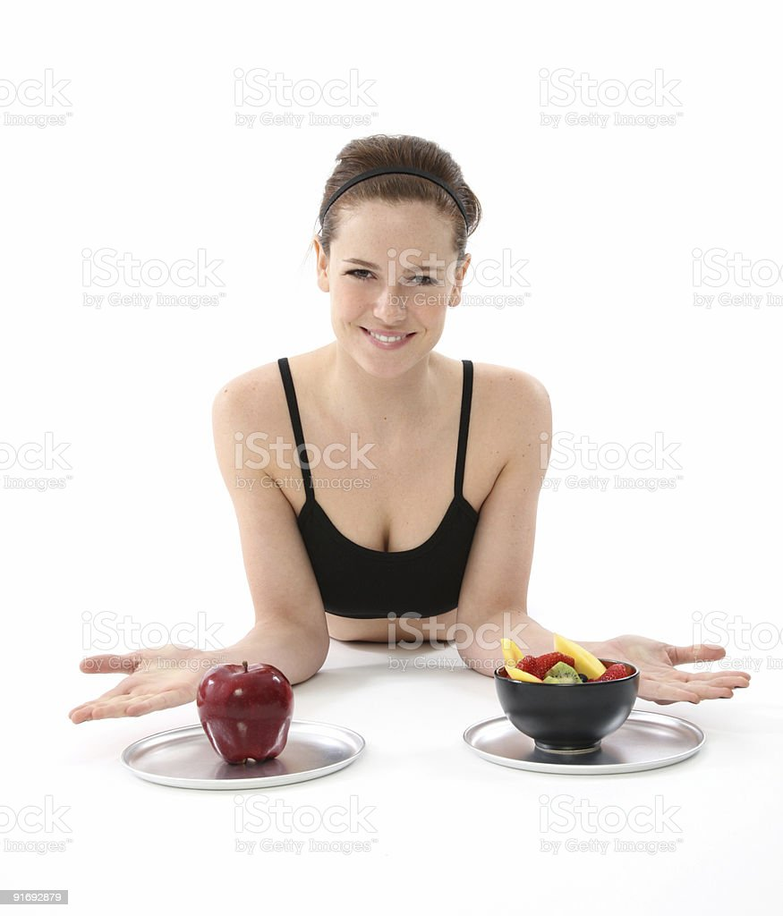 Beautiful woman eating healthy royalty-free stock photo