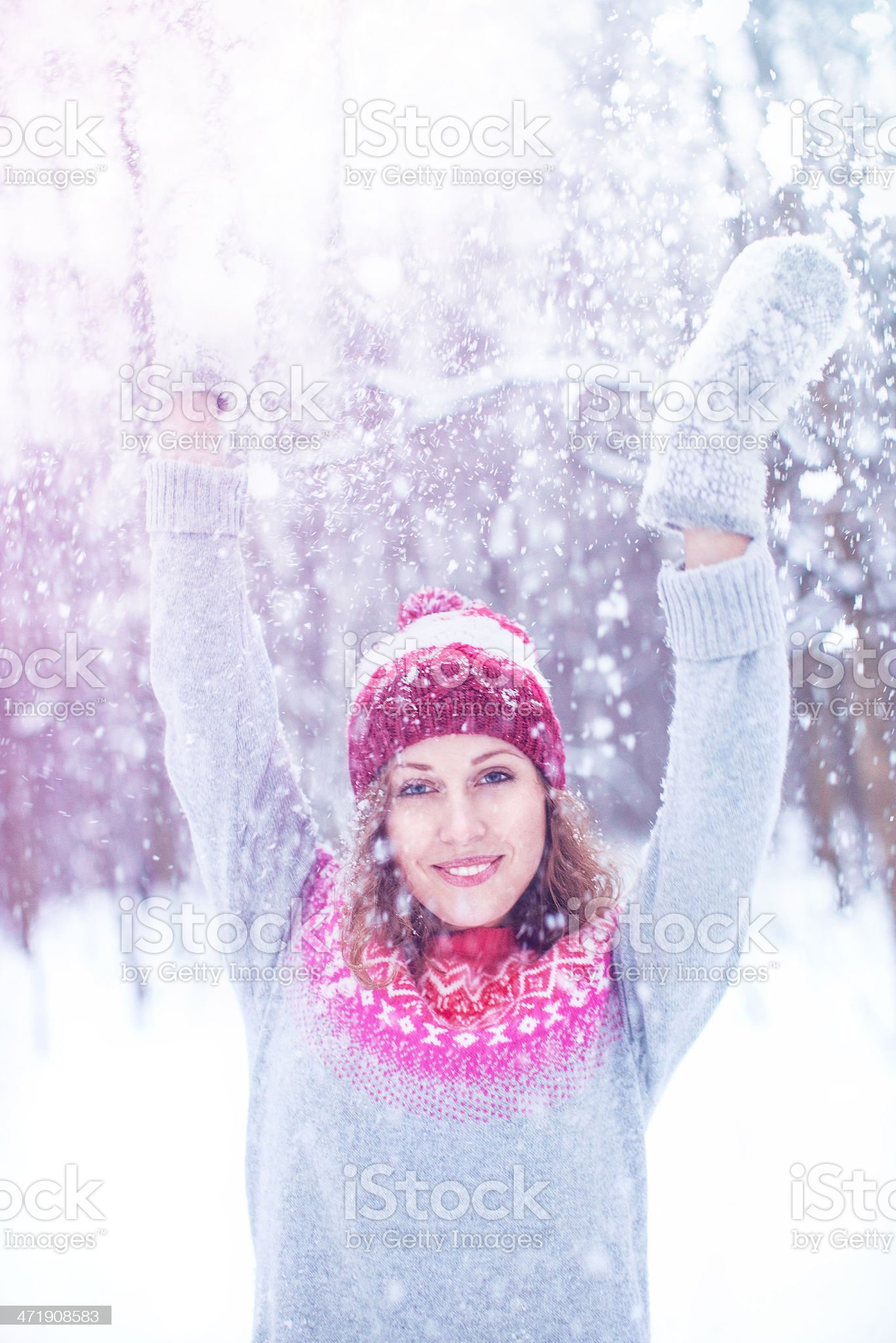 Beautiful woman enjoying winter royalty-free stock photo