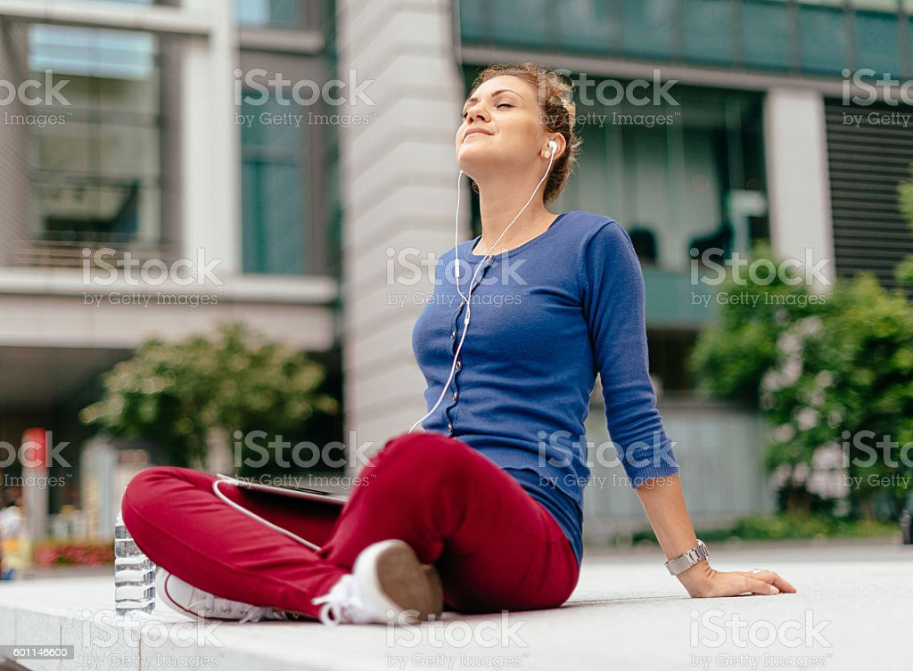 Beautiful woman enjoys day off in Tokyo stock photo