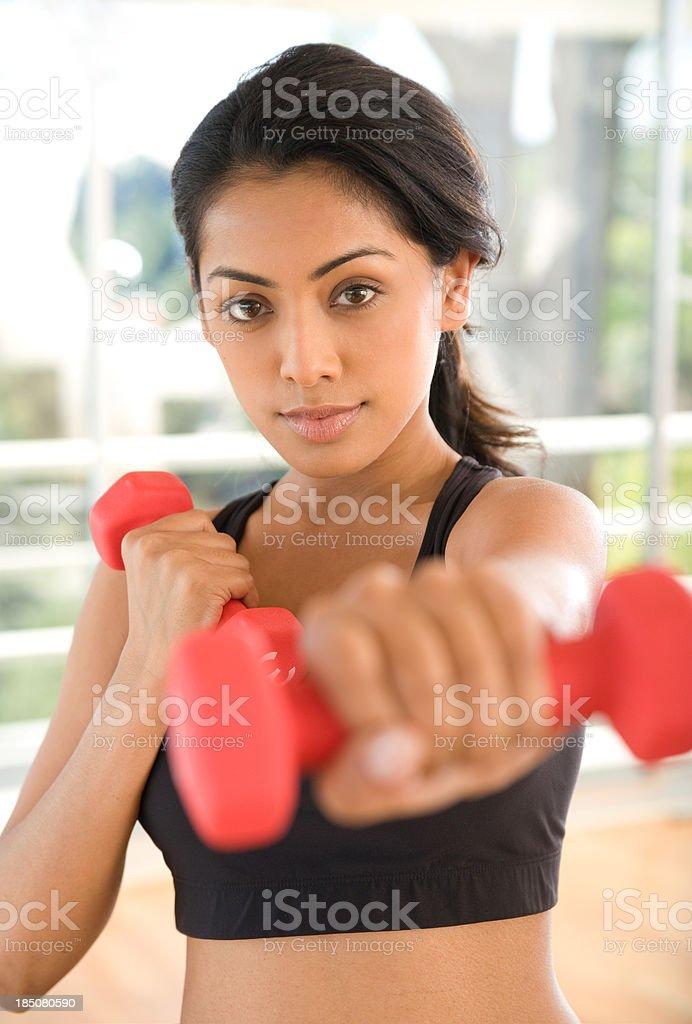 beautiful woman exercising stock photo