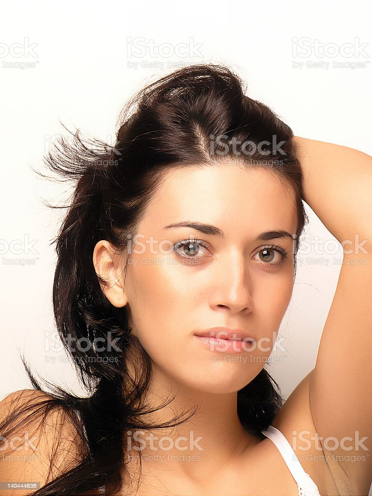 Beautiful woman face and hair royalty-free stock photo