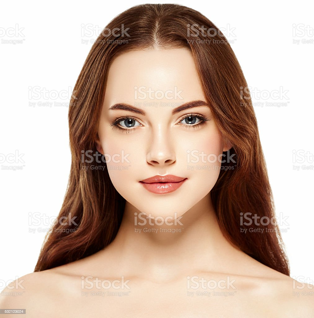 Beautiful woman face close up portrait studio on white stock photo