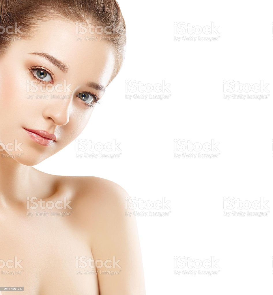Beautiful woman face close up portrait young studio on white stock photo