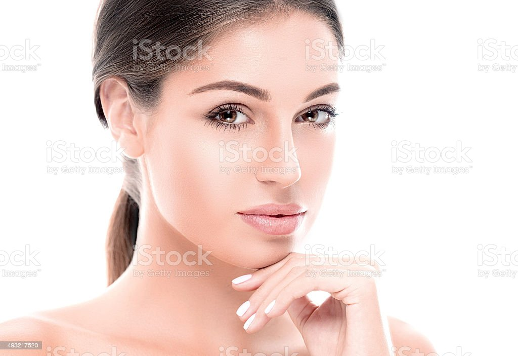Beautiful woman face close up studio on white stock photo