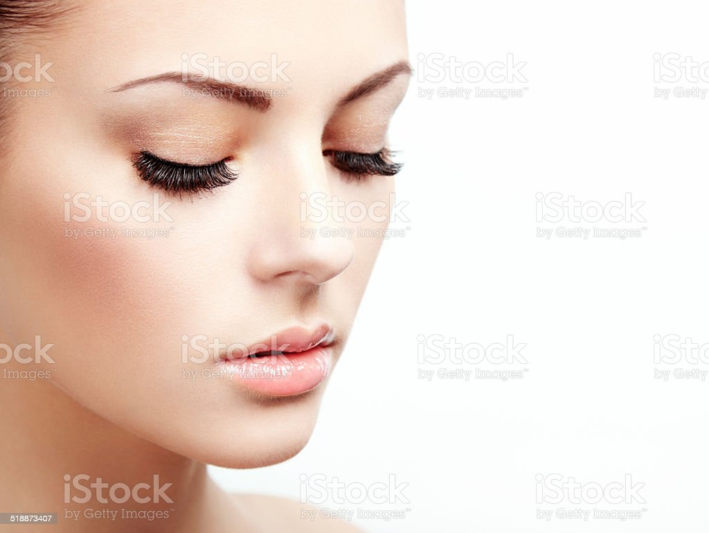 Beautiful woman face. Perfect makeup stock photo