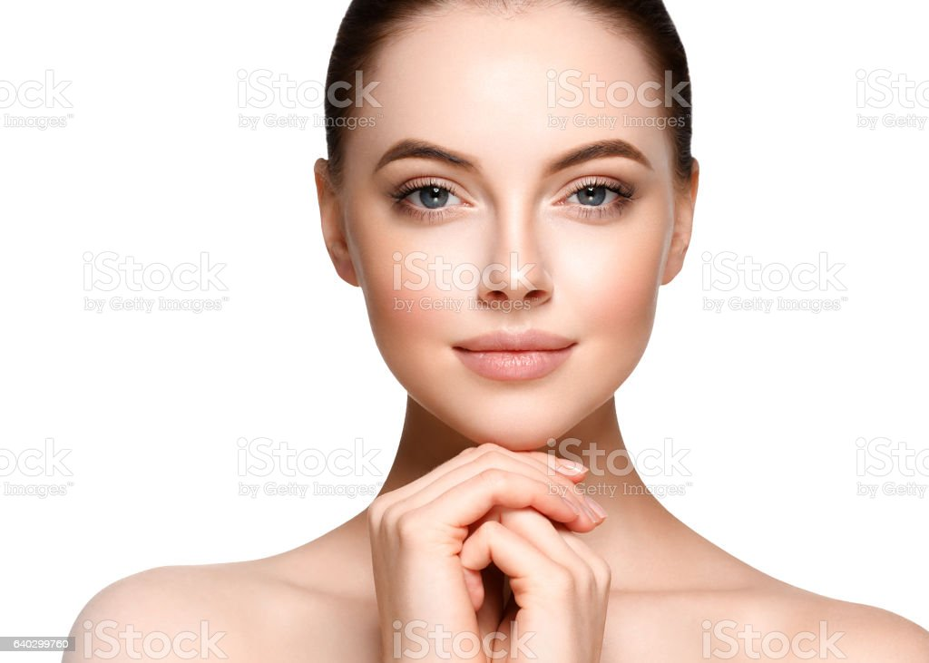 Beautiful Woman Face Portrait. Beauty Model. isolated on white stock photo