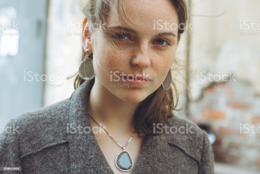 Beautiful woman face portrait. Street people, natural and beautiful stock photo