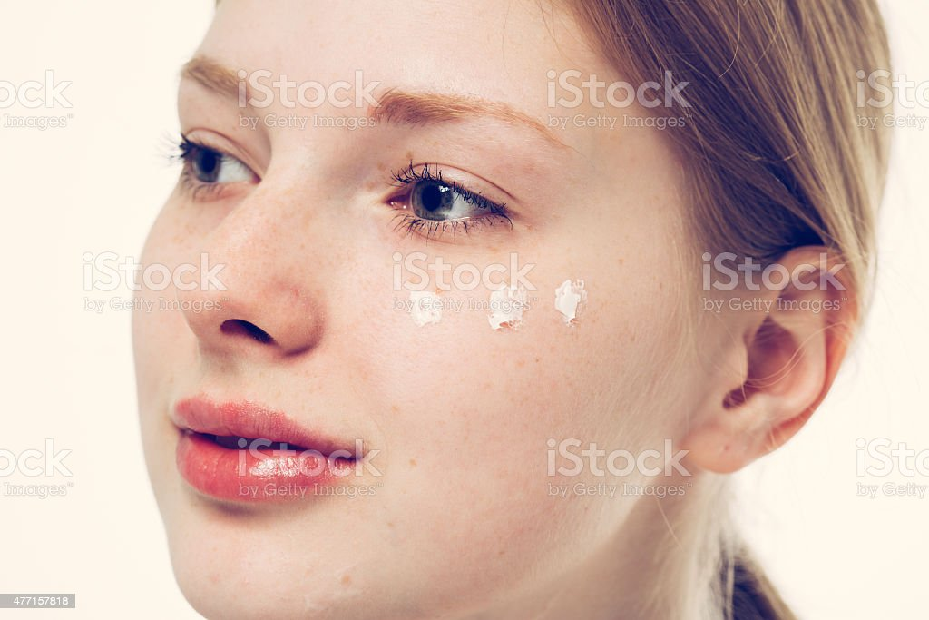 beautiful woman face portrait young happy smiles stock photo