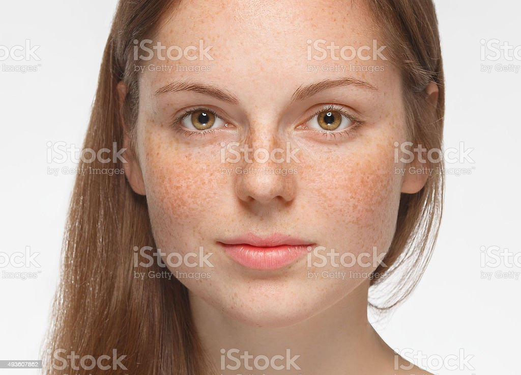 beautiful woman face portrait young isolated on white stock photo