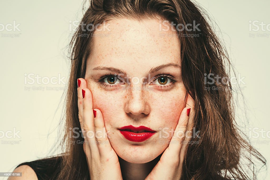 Beautiful woman face portrait young stock photo