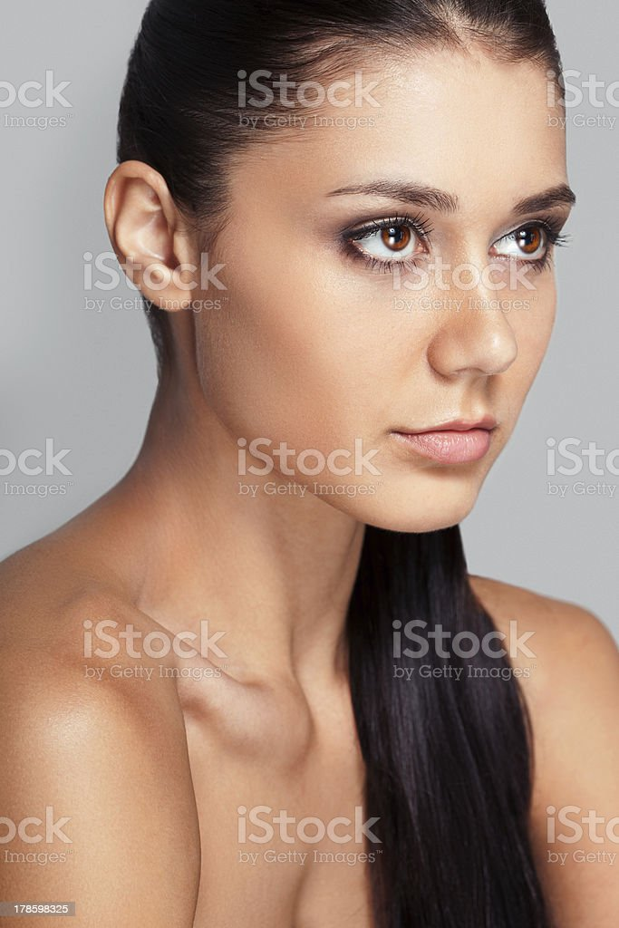 beautiful woman face with clear skin stock photo