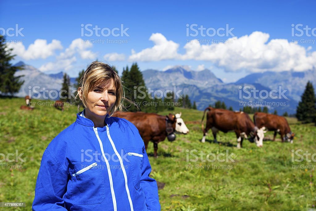 beautiful woman farmer stock photo
