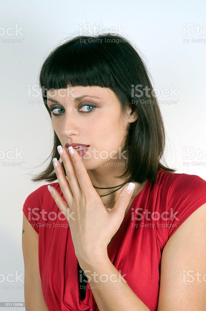 Beautiful Woman Frightned Surprised royalty-free stock photo