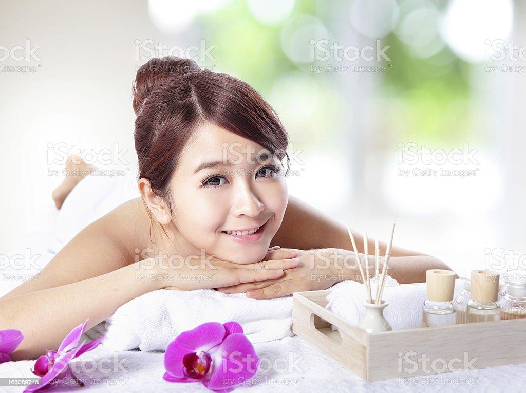 beautiful woman getting spa massage royalty-free stock photo