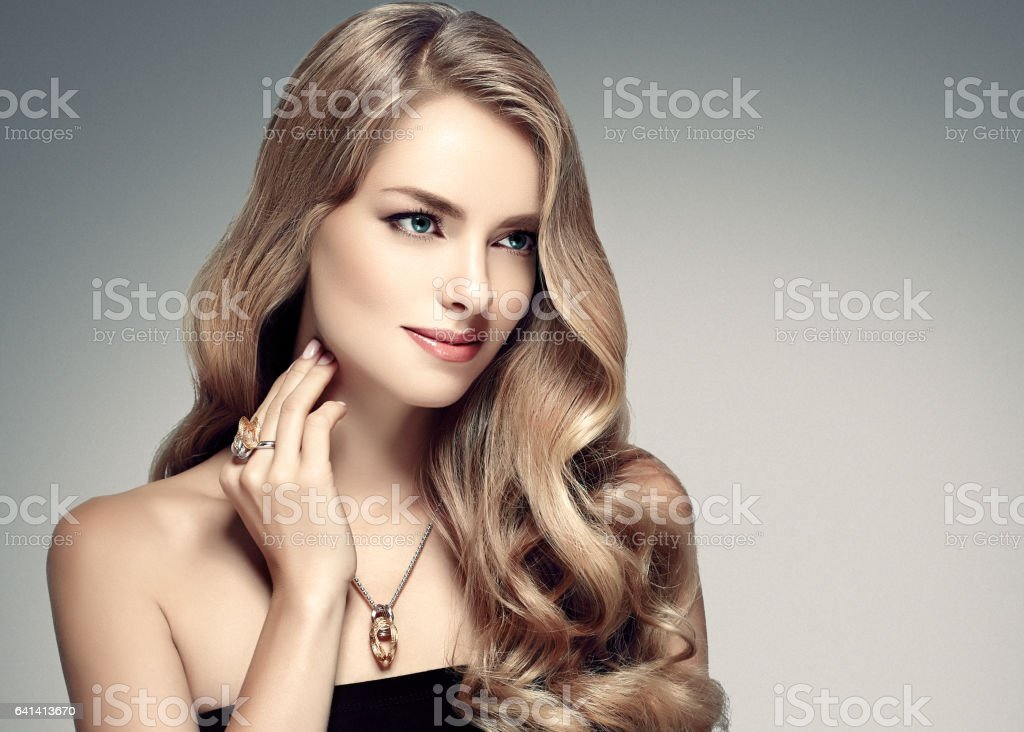 Beautiful Woman Girl Model Blonde Hair studio Portrat. stock photo