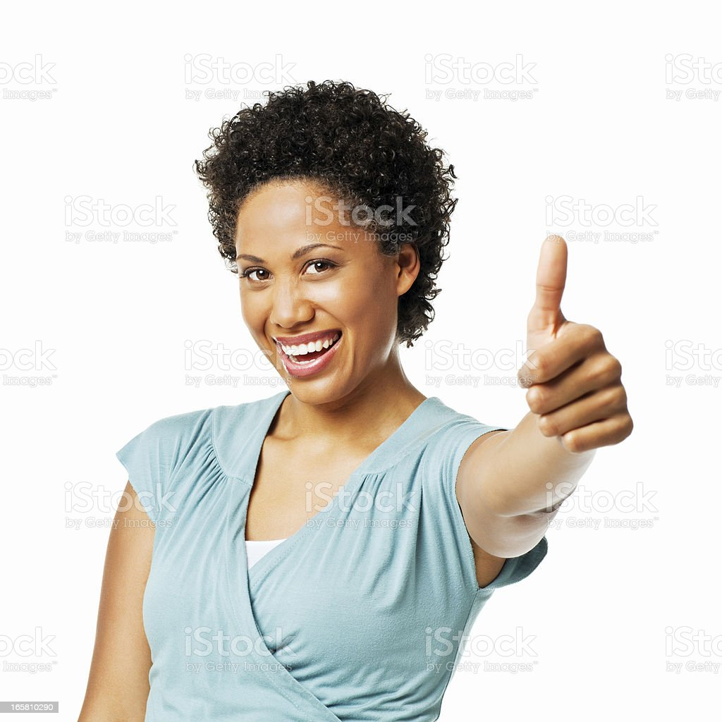 Beautiful Woman Giving a Thumbs Up - Isolated stock photo