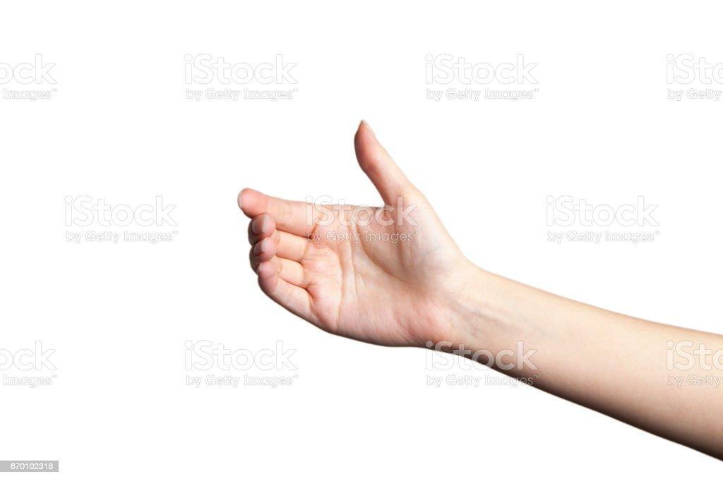 Beautiful woman hand holding isolated on white background stock photo