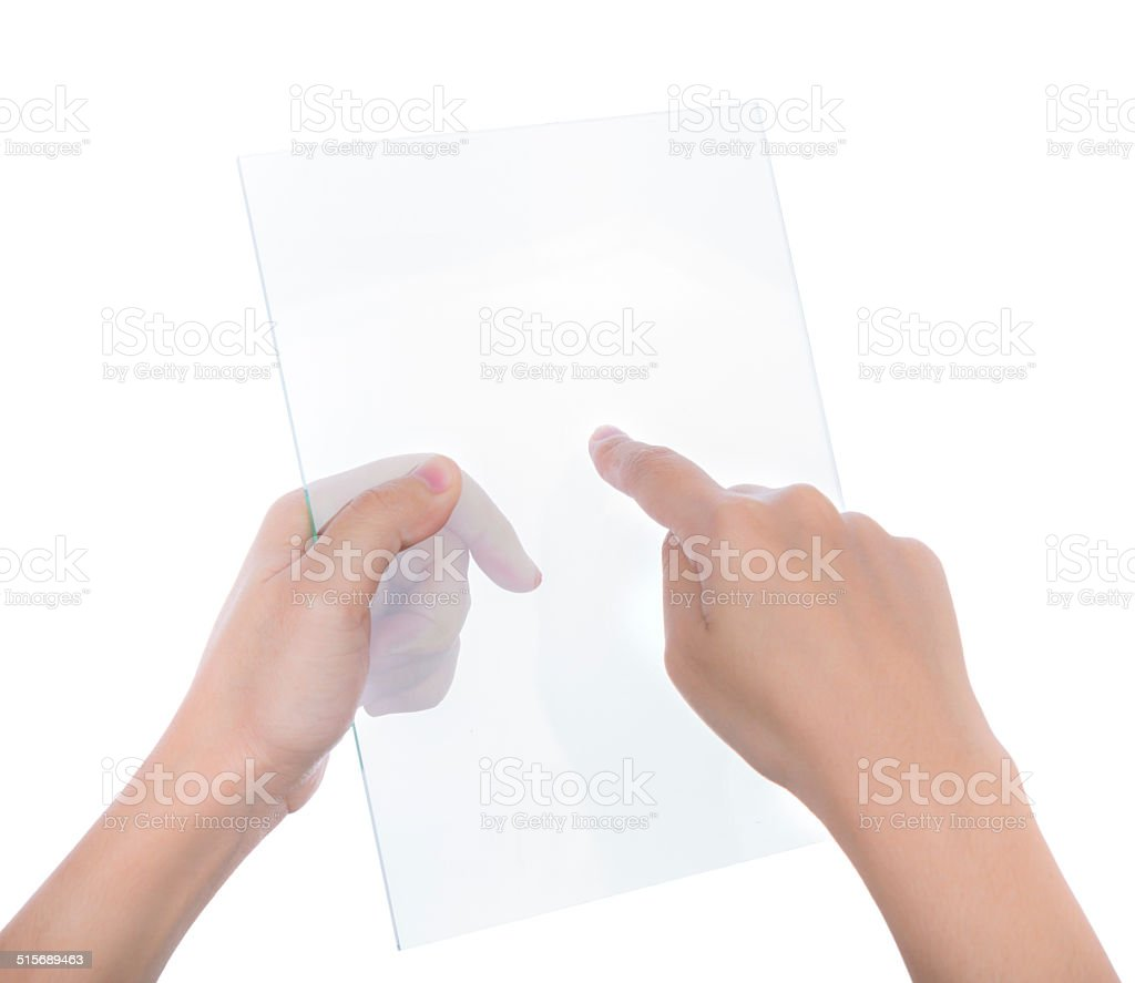 Beautiful woman hand holding transparent white device isolated o stock photo