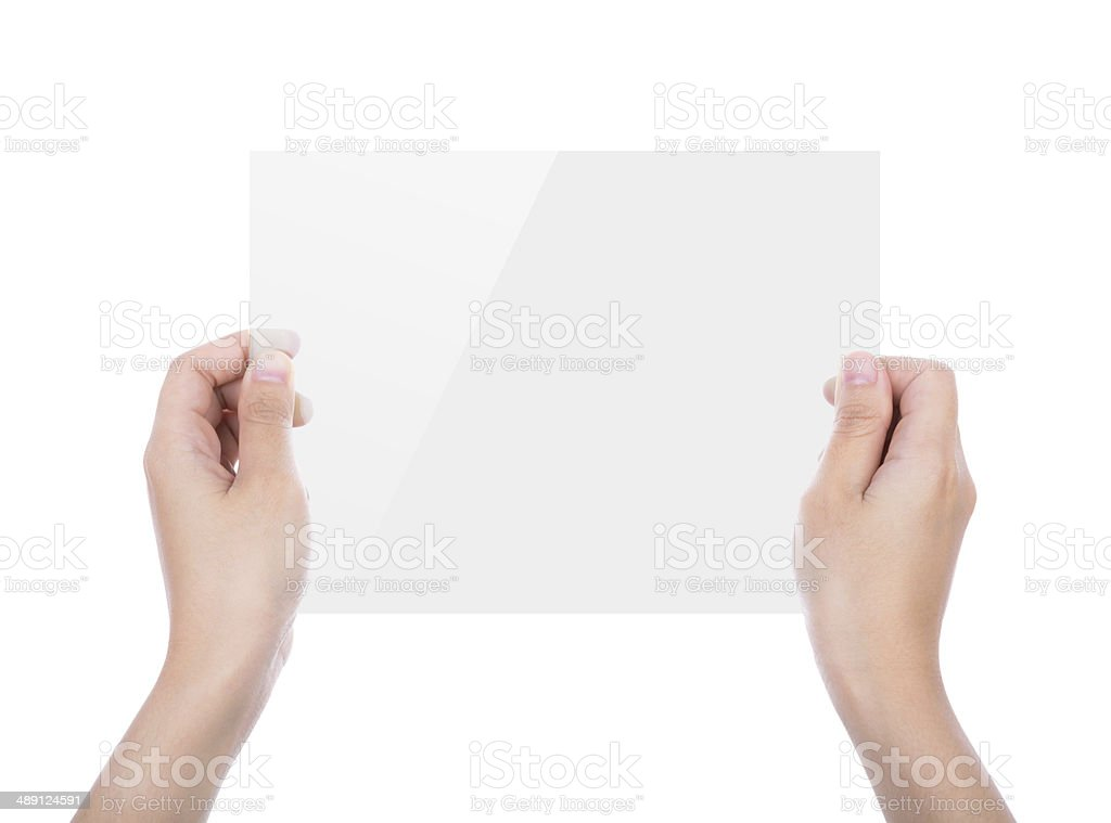 Beautiful woman hand holding transparent white device isolated stock photo