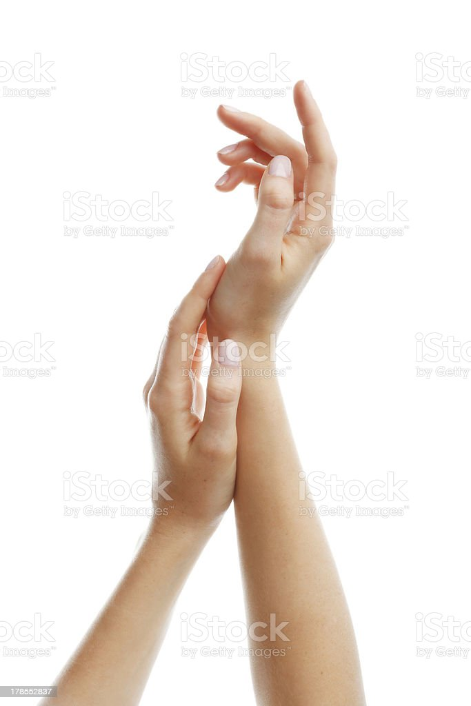 Beautiful woman hand stock photo