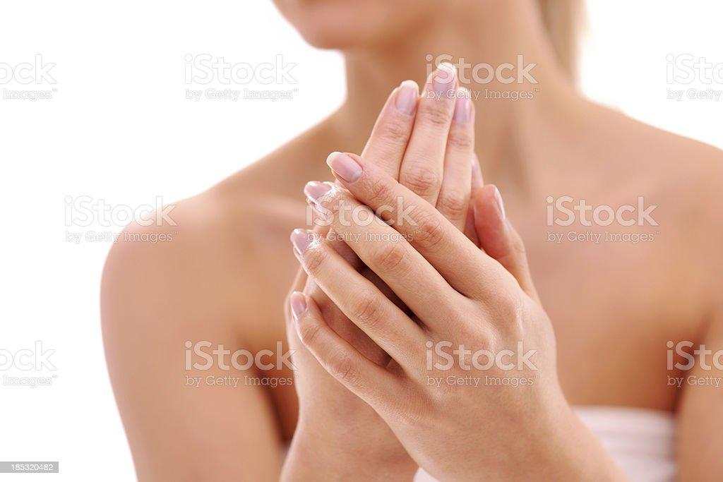 Beautiful woman hands stock photo