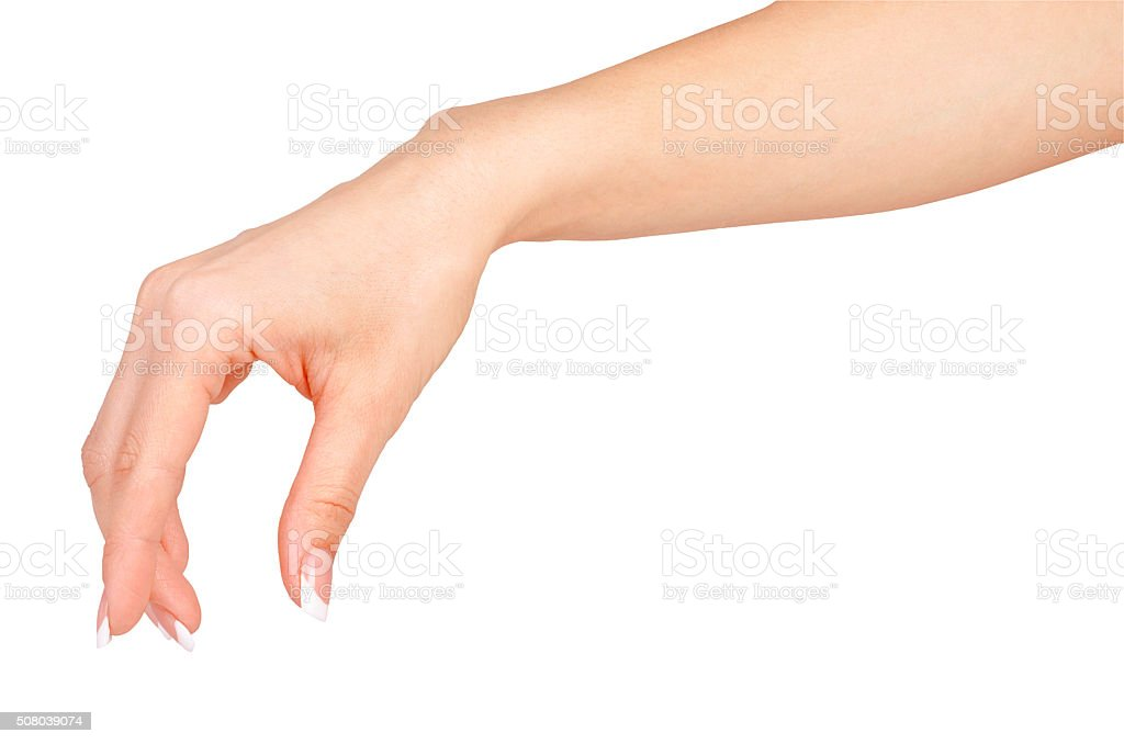 Beautiful woman hands with french manicure isolated on white stock photo